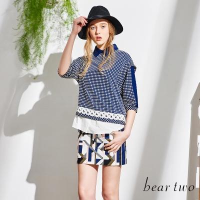 beartwo-假兩件格紋拼接拉鍊造型上衣-共二色