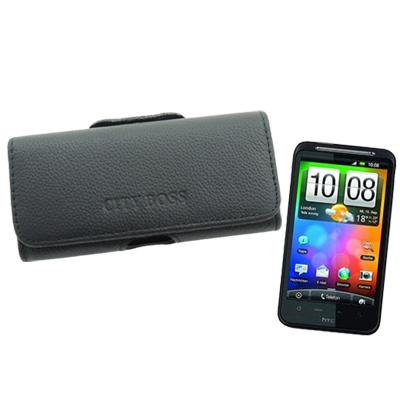 City boss HTC HD2/ Desire HD真皮橫式腰掛保護皮套