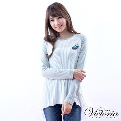 Victoria 俏皮閃電別針斜袖優雅雪紡T-女-白色