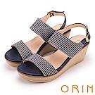 ORIN 愜意渡假風情 嚴選條紋布面楔型涼鞋-藍色