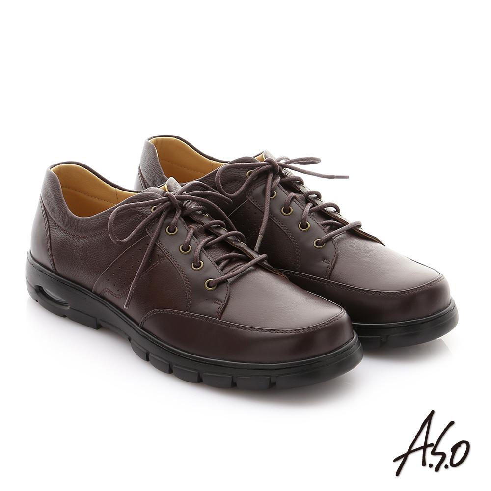 A.S.O 挺力氣墊系列 牛皮綁帶機能紳士休閒鞋 咖啡色