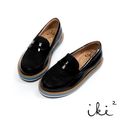 iki2童鞋-厚底拼接真皮牛津鞋-黑