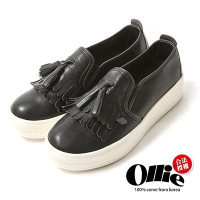 Ollie韓國空運-正韓製流蘇皮革顯瘦厚底懶人鞋-黑