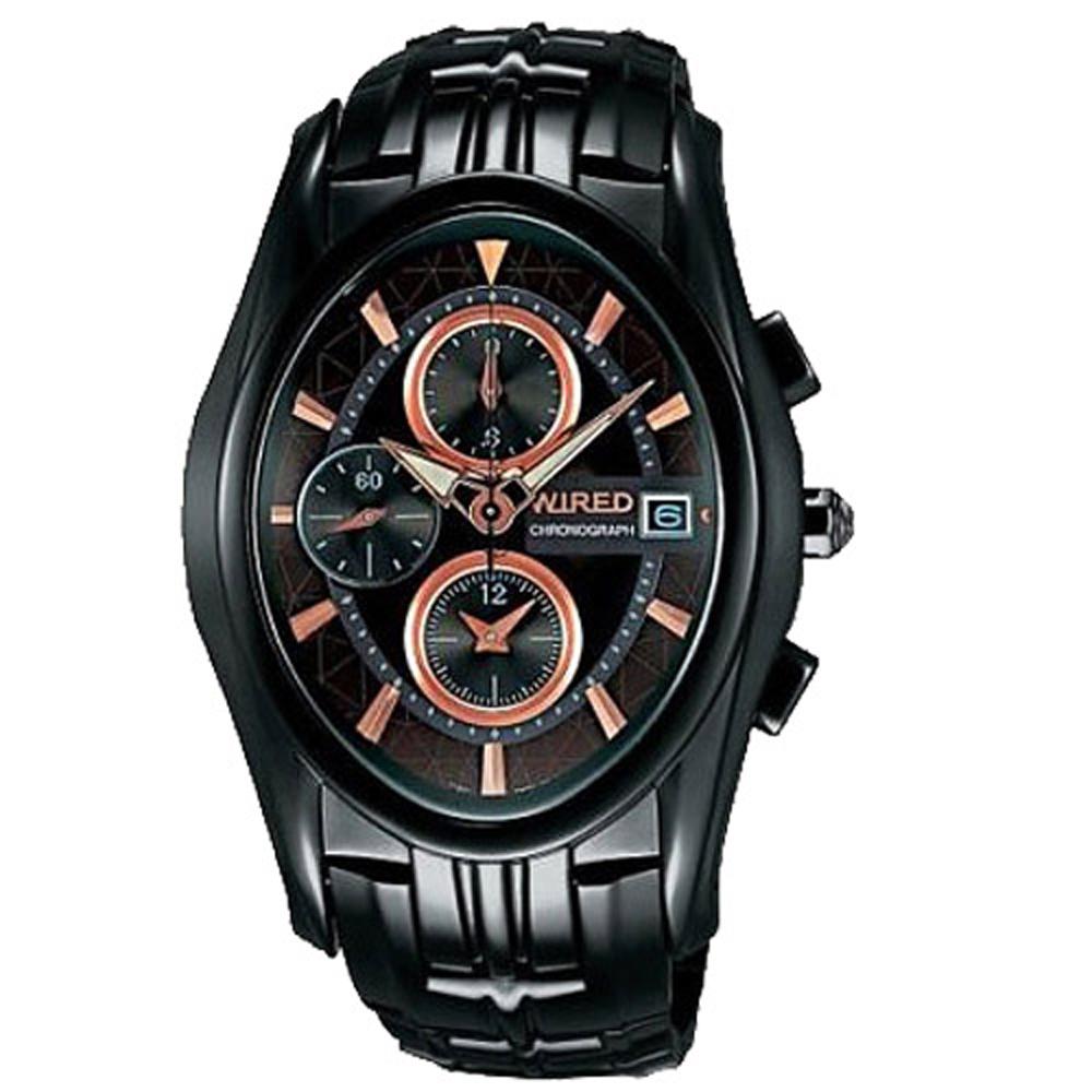 WIRED 剽悍武士計時腕錶(AF8J41X)-鍍黑