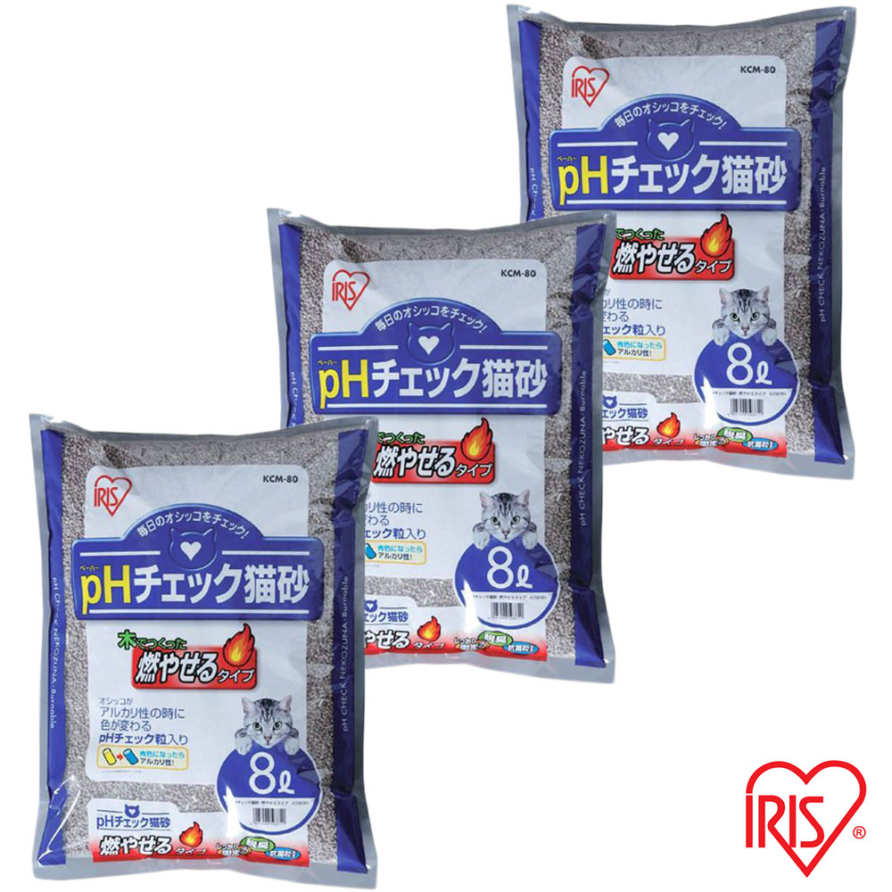 日本IRIS 健康檢查 尿道結石專用貓砂 8L (KCM-80) x 3包