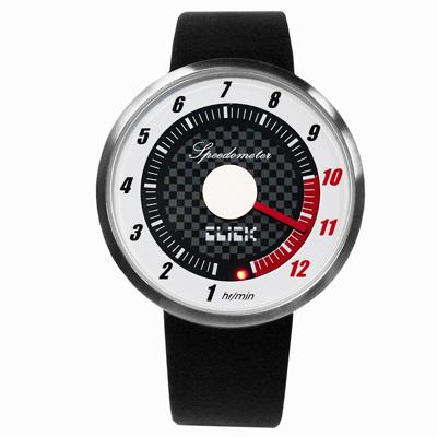 CLICK 飆速儀表個性皮帶錶-銀框白/45mm