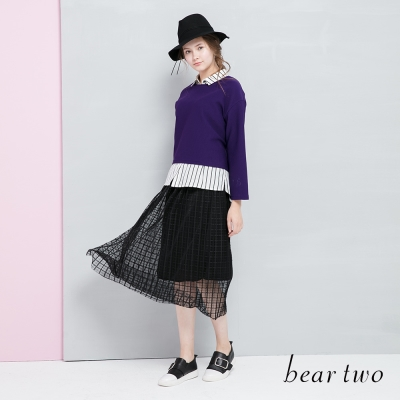 beartwo 網路獨家-微透格紋網紗長裙(黑色)