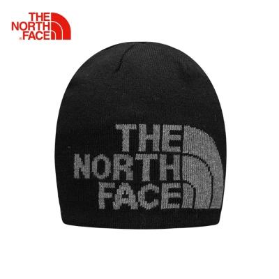 The North Face北面男女款黑色寬鬆保暖可反戴毛帽