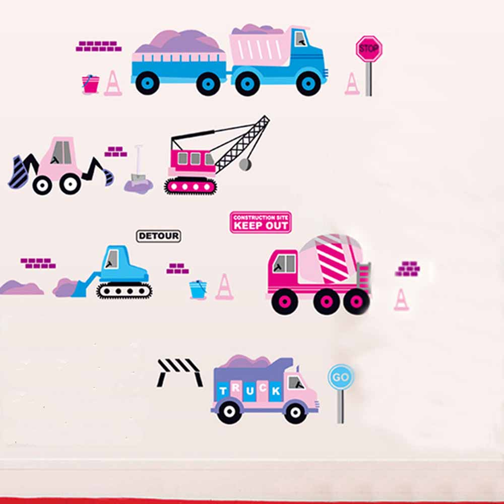 B-001童趣生活系列-工程車 大尺寸高級創意壁貼 / 牆貼