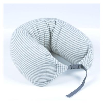AOU 調整式U型枕 護頸枕 可拆洗 飛機搭機旅行枕(粗灰白條紋)66-023D9
