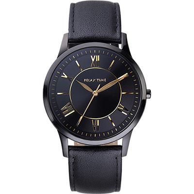 RELAX TIME RT58 經典學院風格腕錶-黑x金時標/42mm