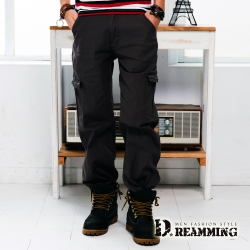 Dreamming 超輕薄多口袋伸縮休閒長褲-黑色