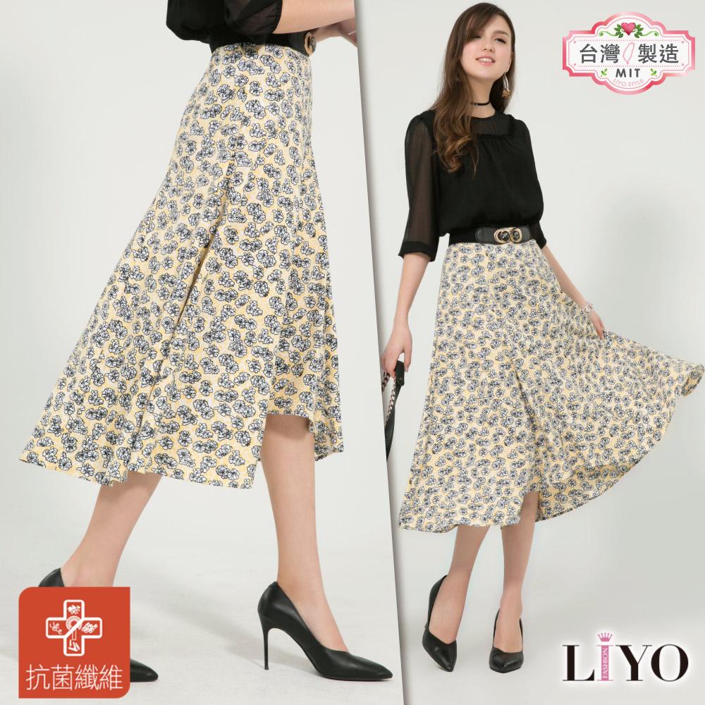 裙子MIT抗菌除臭小碎花傘狀長裙LIYO理優-專利系列S-XL