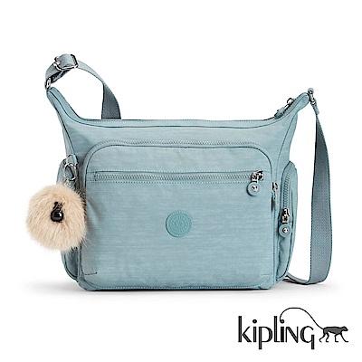 Kipling 斜背包 紋路質感淺藍-中