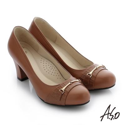 A.S.O 減壓美型 真皮飾釦奈米窩心粗跟鞋 藕粉色