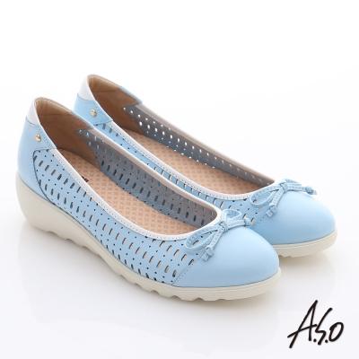 A.S.O 輕漾漫步 全真皮蝴蝶結透氣奈米平底鞋 藍