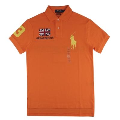 Ralph Lauren 經典短袖POLO衫(男/橘底黃大馬數字英國國旗)