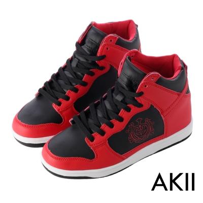 AKII韓國空運‧皇家徽章高筒內增高休閒鞋-紅黑