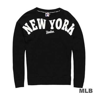 MLB-紐約洋基隊大圖印花長袖厚T恤-黑 (女)