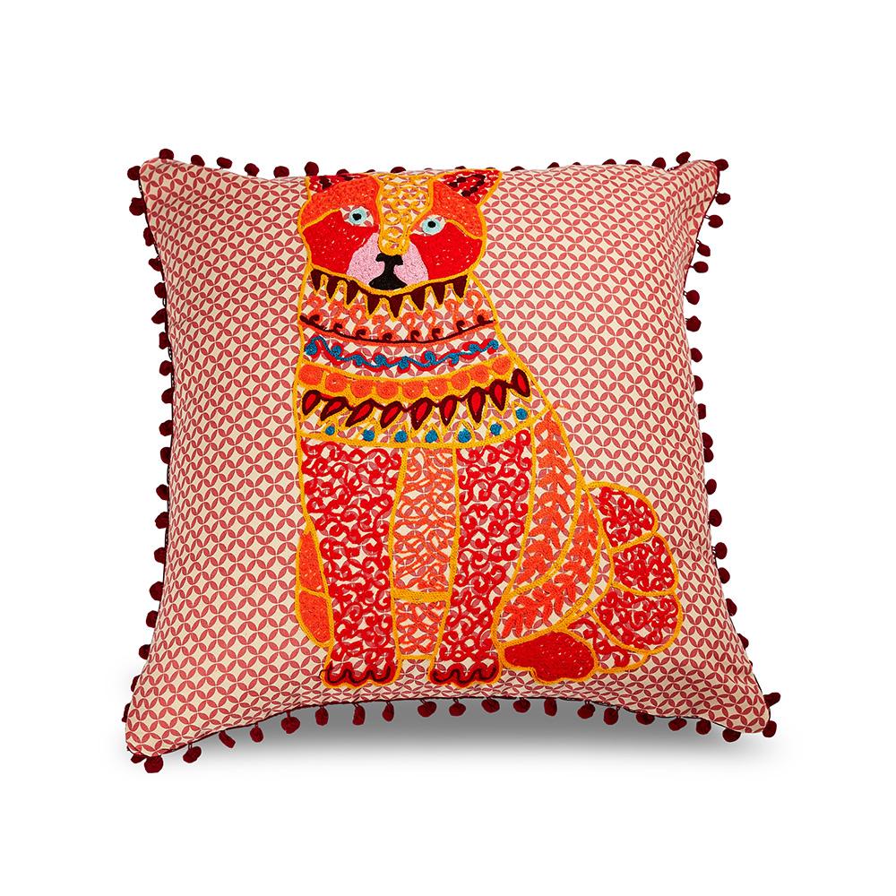 Karma-印度手工拼布動物靠墊(橘色小貓)-含芯