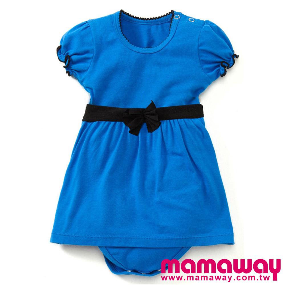 【Mamaway】配色滾邊包屁洋裝(亮藍)