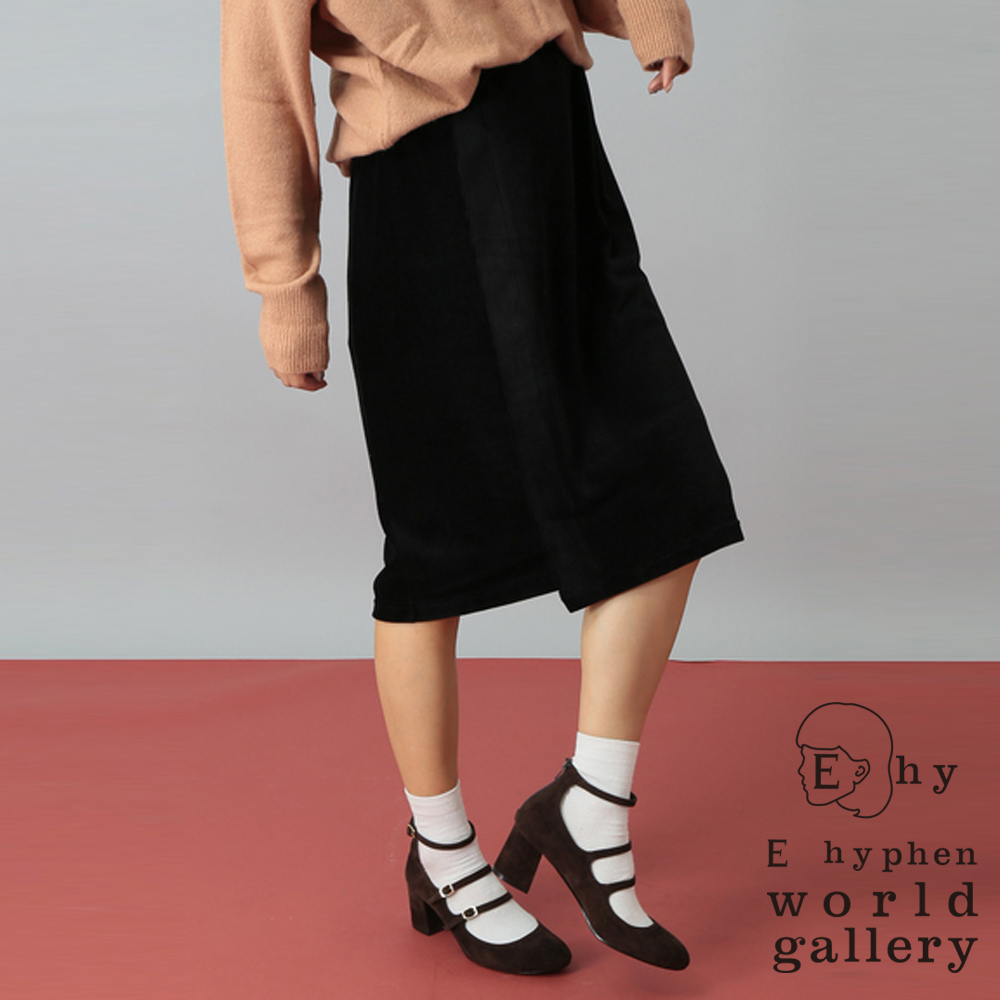 E hyphen 光澤毛絨感膝下中長窄裙