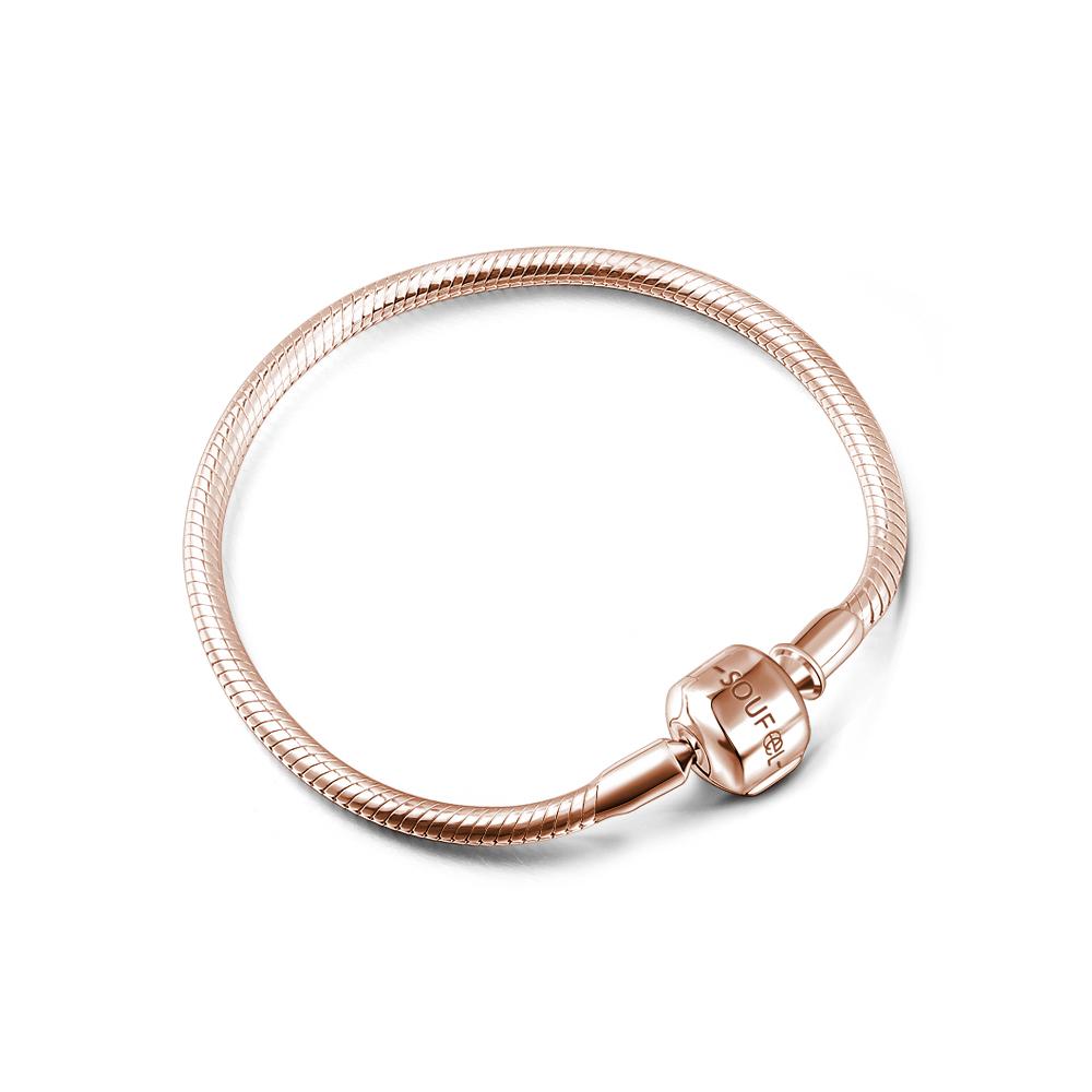 SOUFEEL索菲爾 925純銀珠飾 玫瑰金 基礎手鍊