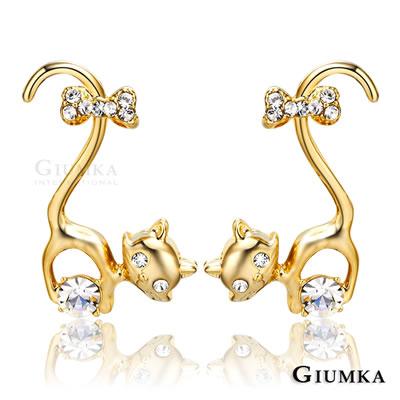 GIUMKA耳環優雅俏貓咪精鍍黃K-金色