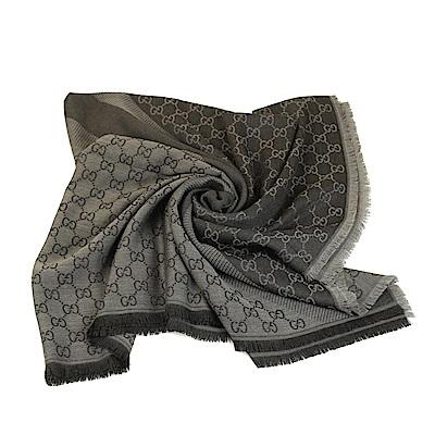 GUCCI LOGO絲羊毛方型方型大披巾 140*140(鐵灰)