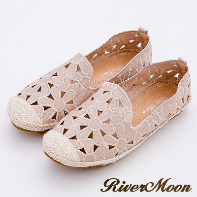 River&Moon樂福鞋-花朵簍空真皮麻編Q軟懶人便鞋-粉系
