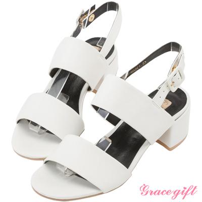 簡約一字寬帶涼鞋-白