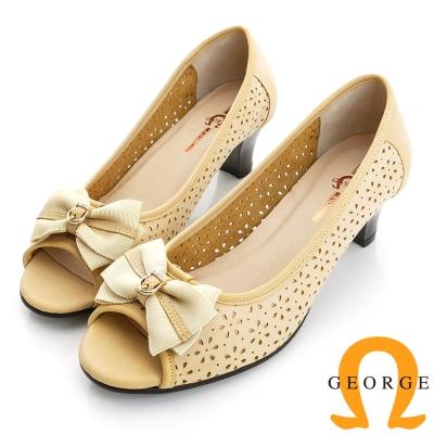 GEORGE喬治-婚鞋系列 真皮鏤空魚口鞋中跟鞋(女)-黃色