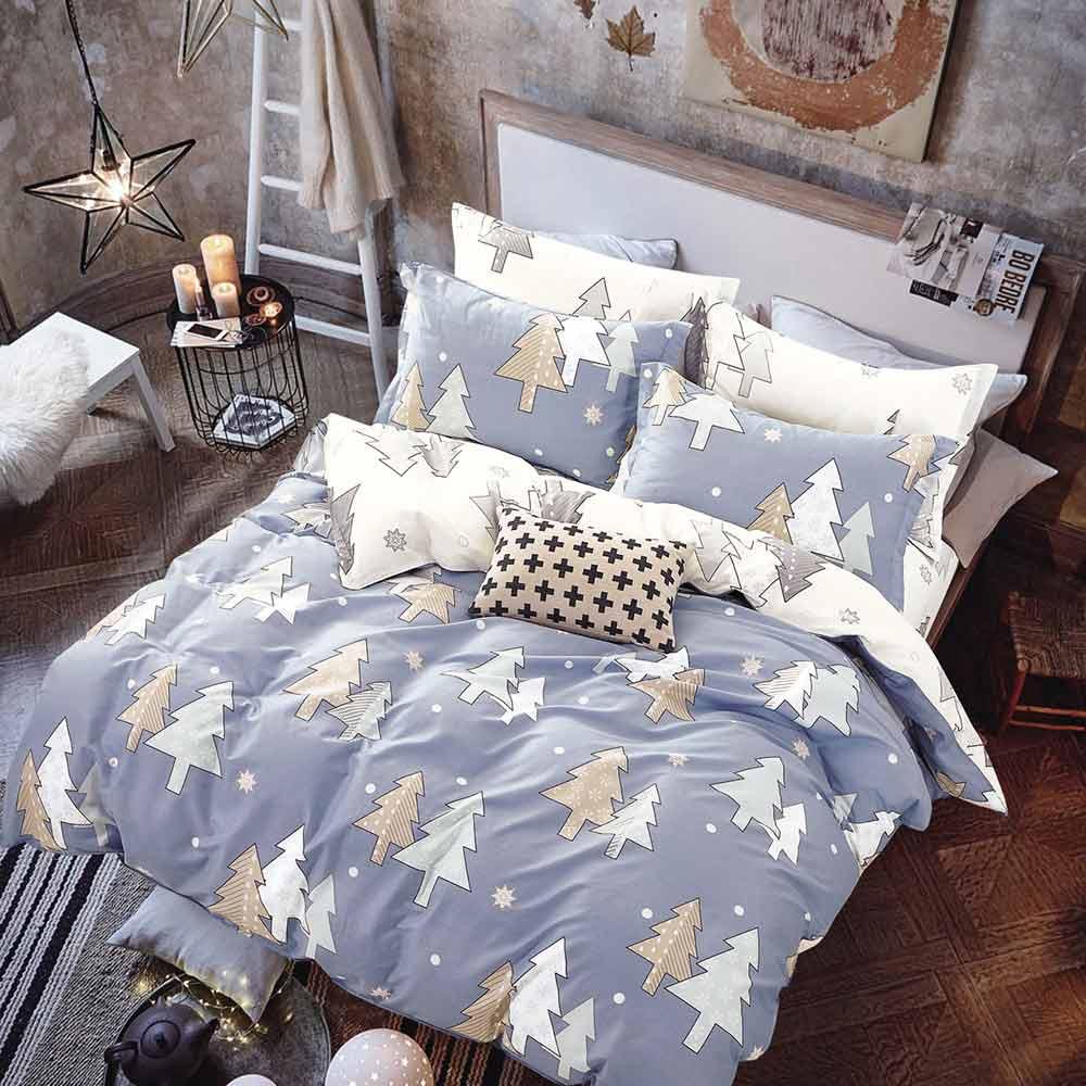 Ania Casa重慶森林 加大四件式 100%精梳棉 台灣製 床包被套純棉四件組