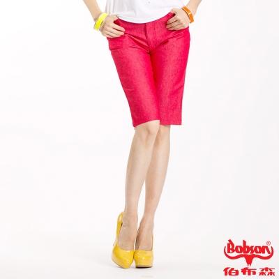BOBSON 女款色布伸縮五分褲(紅103-13)