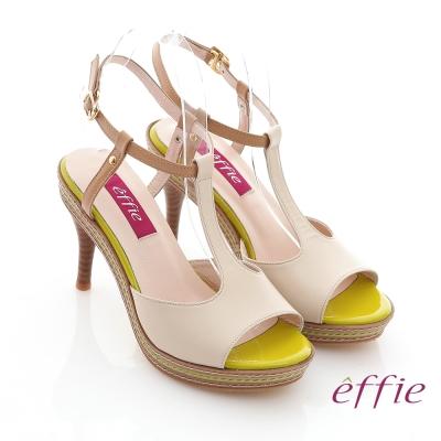 effie 修身美型 全真皮T字帶撞色高跟涼鞋 米白