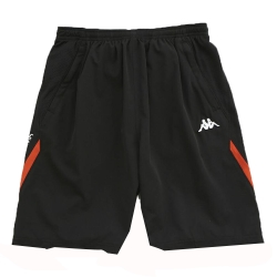 KAPPA義大利 型男吸濕排汗速乾平織慢跑半短褲1件~黑/磚橘
