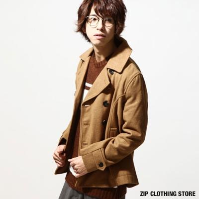 雙排釦羊毛短大衣防潑水 日本男裝