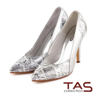 TAS-金屬華麗感蛇紋拼接尖頭高跟鞋-星光銀