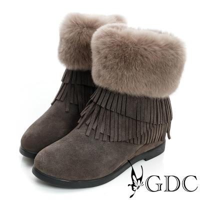 GDC真毛-超暖毛毛流蘇絨面真皮中筒雪靴-深灰色