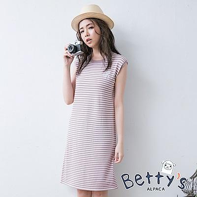 betty's貝蒂思 學院風條紋長版上衣(淺粉)
