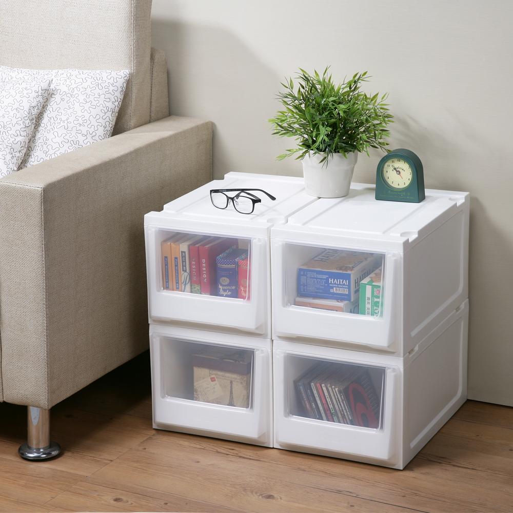 創意達人白色積木系統式單抽隙縫收納櫃14.5L (6入)