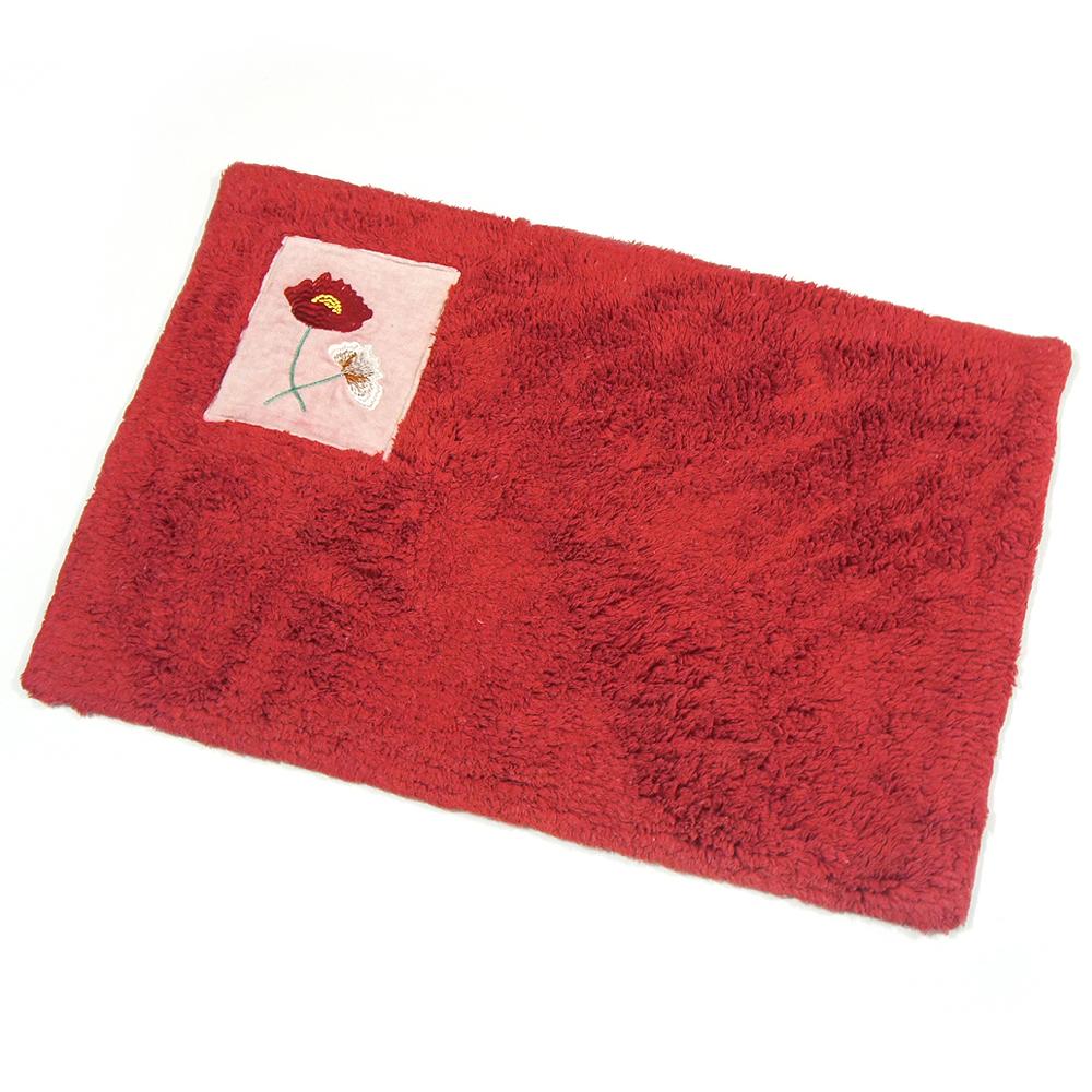 布安於室-刺繡純棉踏墊(超值2入組)-紅色