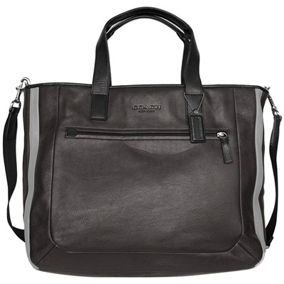 COACH-黑色鐵灰全皮拼接肩背-斜背大方包