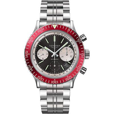 Longines Heritage Diver 1967復刻潛水機械錶-黑x紅圈/42mm