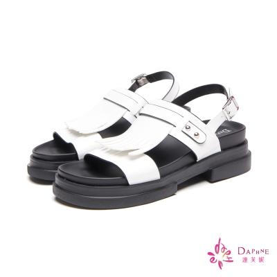 達芙妮DAPHNE-飛躍艷夏彈力輕量流蘇厚底涼鞋