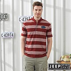 JEEP 亨利領撞色條紋短袖POLO衫-紅