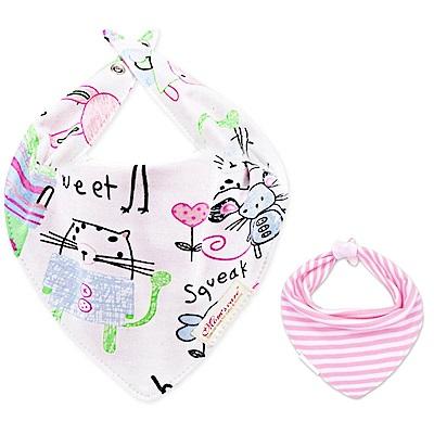 Baby unicorn 粉紅動物款純棉雙面圍兜口水巾