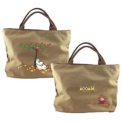 【Moomin】 拉鍊帆布包(卡其-大)