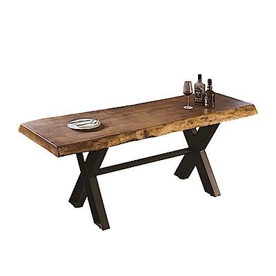AT HOME-工業風設計6尺厚切原木鐵藝餐桌工作桌(180*70*76cm)泰森