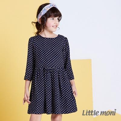 Little moni 清新典雅幾何七分袖洋裝 深藍